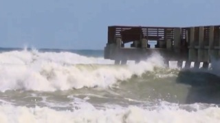 High surf and dangerous conditions along the beach