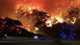 Santa Ana Winds Fuel Skirball Fire, Homes Destroyed Near Bel-Air - Video