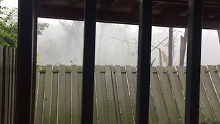 Hurricane Maria Blows Over Fence in San Juan - Video