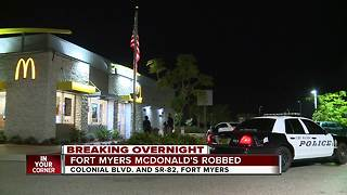 Robbery investigation at Fort Myers McDonald's - Video