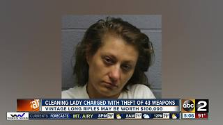 Cleaning lady charged with steal 43 guns - Video