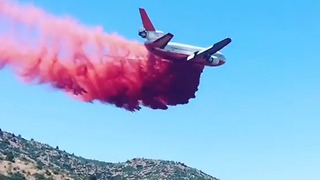 Plane Drops Retardant Onto Goodwin Fire - Video