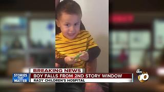 Boy falls from second story window