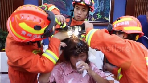Firefighters free woman's hair from massage chair in China