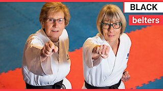 Pensioners become two of the oldest people to achieve black belts in karate