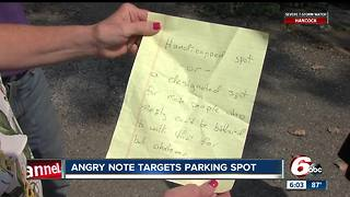 Angry note left on woman's car over a handicapped spot - Video