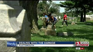 Big clean up after storm rips through cemetery - Video
