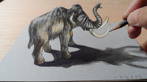 How to draw a 3D mammoth