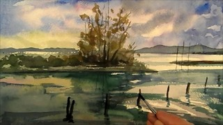 Beautiful landscape portrait in watercolor  - Video