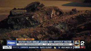 Water main break on Greenspring Avenue leaves hundreds without water - Video