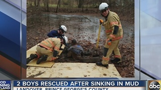 2 boys rescued after sinking in mud in PG County - Video