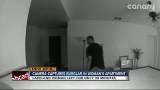 Camera captures burglar in woman's apartment - Video