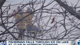 Fisherman falls through the ice on Lake St. Clair near Harrison Township - Video