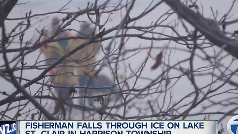 Fisherman falls through the ice on Lake St. Clair near Harrison Township