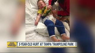 3-year-old boy in body cast for jumping on trampoline at Tampa park - Video