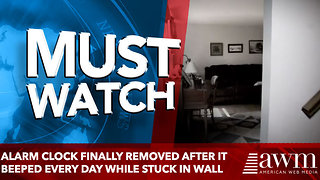 Alarm Clock Finally Removed After It Beeped Every Day while stuck in wall - Video