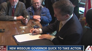 New Missouri governor quick to take action - Video
