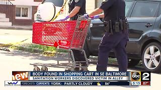 Body found in shopping cart in SE Baltimore - Video