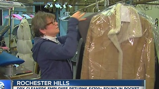 Dry cleaner returns $1,700 found in pocket - Video