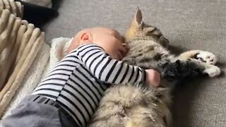 Baby preciously cuddles cat for nap time