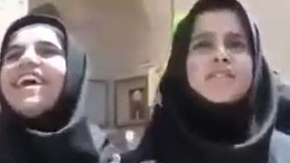 Students are speaking to a tourist in Iran - Video