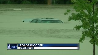 Roads severely flooded in Burlington after storms