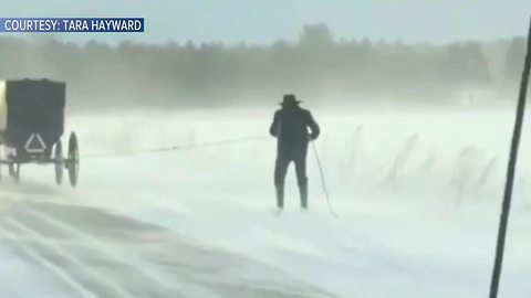 Amish man caught on video skiing behind a horse and buggy