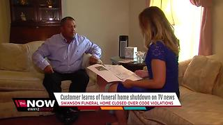 Customer learns funeral home shut down on TV news - Video