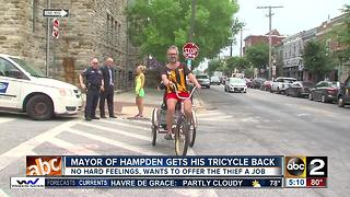 Mayor of Hampden gets tricycle back - Video