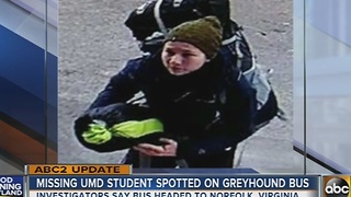 Missing UMD student spotted on Greyhound bus