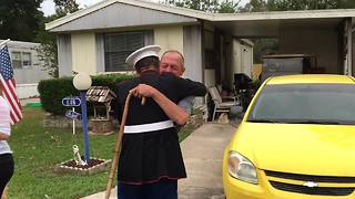 Marine Surprises Marine Grandfather For His Birthday - Video