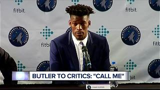 Jimmy Butler gives out cell phone number at Timberwolves introduction - Video