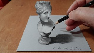 How to draw a 3D bust of Venus - Video