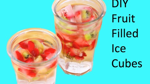 DIY Fruit filled ice cubes