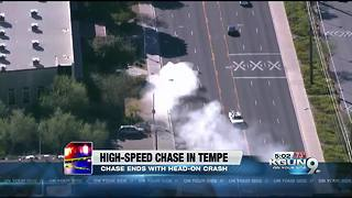 Suspect crashes head-on during police pursuit in Tempe - Video