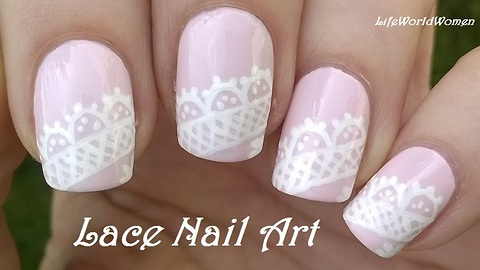 Pastel Lace Nail Art Design