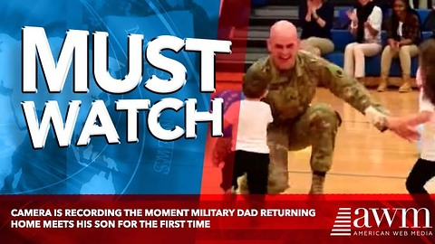 Camera Is Recording The Moment Military Dad Returning Home Meets His Son For The First TIme