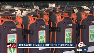 Life-saving AED's donated to state police - Video