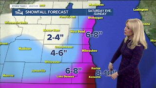 Snow moves in Saturday evening and continues into Sunday