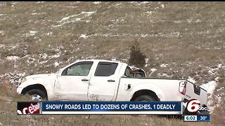 Slick roads cause dozens of accidents across central Indiana - Video