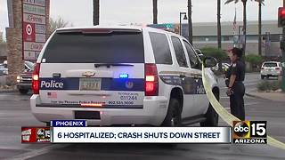 Six people hospitalized after major crash shuts down street in Phoenix - Video