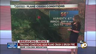 Tracking conditions near plane crash and brush fire - Video
