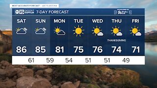 FORECAST: Saturday's forecast high will be 86 across much of the Valley