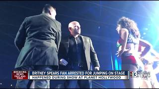 Britney Spears fan arrested for jumping on stage - Video
