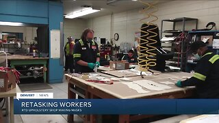 RTD upholstery shop workers making masks