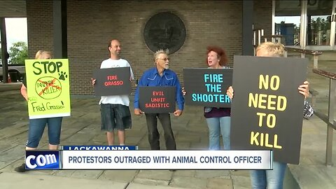 Protestors take outrage over Lackawanna Animal Control Officer to City Hall