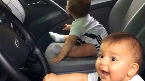 Adorable Twins Use Teamwork To Trash Daddy's Car