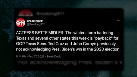 Sick: Bette Midler Says Texas Disaster Is Payback for Ted Cruz & John Cornyn, 30 People Have Died