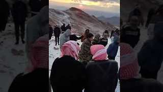 Saudis Celebrate Rare Snowfall on Mountain Top - Video