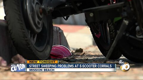 E-scooter corrals prevent street sweeping in Mission Beach